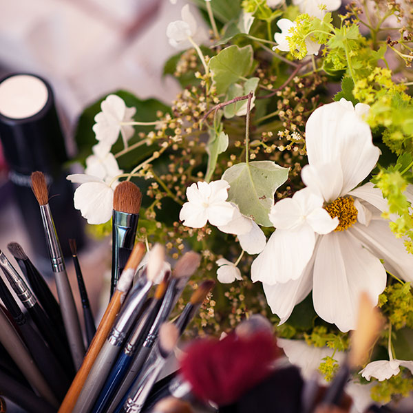 Flowers with Makeup Brushes